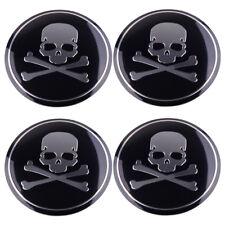 4pcs Auto Wheel Center Hub Caps Metal Cross Bone Skull Logo Emblem Sticker 56mm