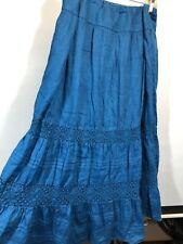 J. Jill 18 Skirt Blue Tiered Cotton Long Maxi