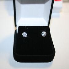 Round Diamond Alternatives Basket Stud Earrings 6mm 14k White Gold over 925 SS