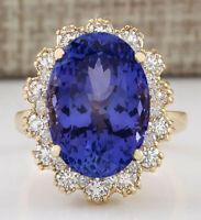 12.38 Carat Natural Tanzanite 14K Yellow Gold Diamond Ring