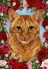 New listing Roses House Flag - Orange Tabby Cat 19955