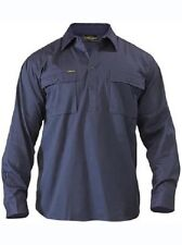 Bisley Closed Front Mens Cotton Drill LS Shirt M Navy