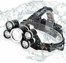 Headlamp Flashlight USB Charge Zoomable 5 LED Waterproof  Bright T6 LED 4 Modes