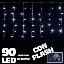 Tenda Luminosa Natalizia 90 LED Luce Bianco Freddo 3 METRI Esterno Luci Cavo 5mt