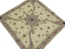 Gold Beaded Tablecloth – Square Eclectic Fashion Coffee Table Overlay from India
