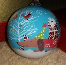 """Pier 1 Christmas Dog Hand Painted Li Bien Glass 3"""" Ornament 2014 w/Box & Tag"""