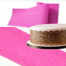 Large Edible Sugar Lace Art Silicone Mat Mould Sugarcraft Cake Decorating