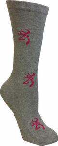 Bg Ladies Heartland Crew Socks Med Grey & Pink Buckmark A000261960103