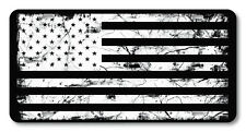Black White American Flag Vanity License Plate Car Truck Accessory  distressed
