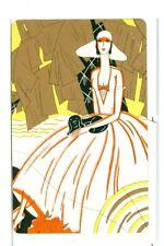 "Single Vintage Playing Card ""Glamour Girl/Dog"" Art Deco, Yellow/Orange/Gold"