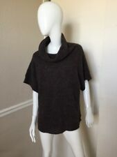 Cannisse Taupe Brown Alpaca Wool Cowl Neck Short Sleeve Oversized Sweater S/M