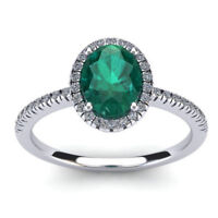 14K WHITE GOLD 1 1/3 CT OVAL GENUINE EMERALD AND HALO DIAMOND RING, SIZE-7, 8, 9