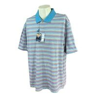 Joseph A Bank Men's Leadbetter Golf Blue Stripe Performance Polo NWT Shirt XXL