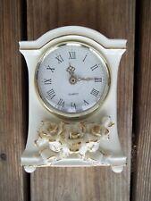 Vintage Avon China Ivory Porcelain White Roses Mantel Clock Gold Trim Desk Table