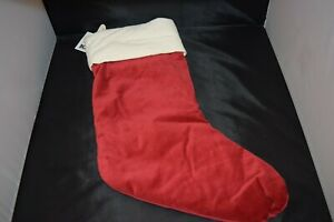 NEW Pottery Barn Christmas Holiday Stocking Cotton Velvet Cuff Red & Ivory M NWT