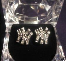 NY YANKEES ICED OUT STUD EARRINGS SILVER HIP HOP BLING