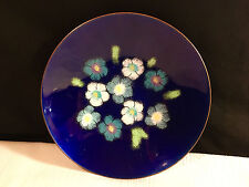 Bowl Plate Pin-Tray Enamel On Copper w/Blue White Flowers Signed by Woman Artist