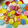 100 Pcs 2 Holes Round Plastic Sewing Buttons Mixed Color Scrapbooking 20mm PT278