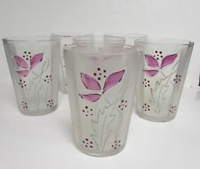 """6 ANTIQUE VINTAGE FROSTED GLASSES PANEL SIDES PURPLE IRIS? 8 OZ 4"""" TALL"""
