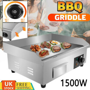 1500W Commercial Electric Countertop Griddle Flat Top Grill Hot Plate Pan BBQ UK