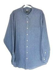 DKNY Men's Blue Striped Dress Shirt Size Medium Long Sleeve Pocket Front Cotton