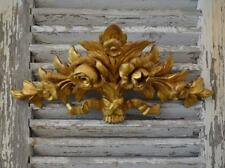 Gorgeous Antique Italian Carved Wood Water Gilded Flower Mount / Pediment 18th C