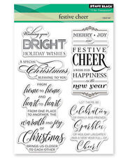 New Penny Black FESTIVE CHEER Clear Stamp Verse Christmas Sentiment Holiday Joy