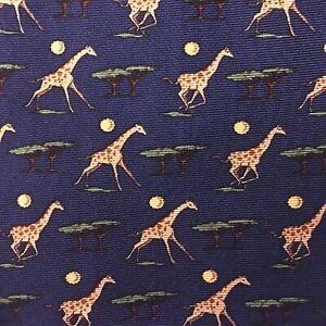 "NWOT BROOKS BROTHERS ""MAKERS"" 100% Silk Tie ~ Giraffes Acacias Moon ~ Navy Blue"