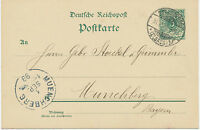 "DT.REICH ""STRASSBURG / (ELSASS) 1"" K2 5 Pf Kab.-GA-Postkarte n ""MUENCHBERG"" 1899"