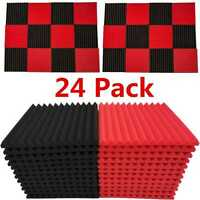 "24 Pack Acoustic Foam Panel Wedge Studio Soundproofing 1"" X 12"" X 12"" Wall Tiles"