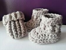 Baby booties boots mittens set crochet handmade hand knit warm 9-12 months gift