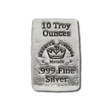 1  -  10 oz. 999 Fine Silver Bar - Monarch - Hand Poured - Uncirculated