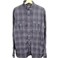 F148 RRL Ralph Lauren Plaid Button Up Black Shirt Made in USA Men's Workwear M