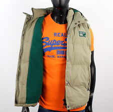 SUPERDRY mens Size M HOODED CAMPING Polar Vest Jacket Green P947