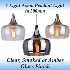 1 Light Asma 300mm Pendant Light in Clear, Smoked or Amber Glass Finish