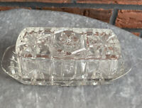 Vintage Cut Glass Butter Dish With Cover Clear Translucent VTG