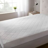 Quilted Mattress Cover Protector Full Size White Bedding Extra Deep Fitted Sheet