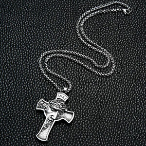 Mens Stainless Steel Jesus Christ Face Crucifix Cross Pendant Necklace New