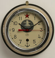"Vintage 1995 Russian Soviet Submarine Wall Clock, Wind Up, Metal & Glass, 9"" dia"