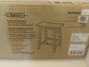 """Winsome Wood Satori Saddle Seat Counter Stool, 24"""", Walnut"""