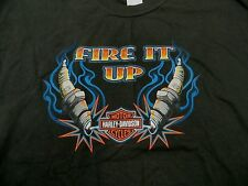 Harley Davidson XL T-Shirt Black Fire It Up Spark Plugs Milwaukee WI