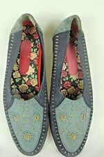 Hush Puppies Two Tone Blue Stitched Leather Shoes Size 9 D Flats Loafers