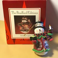 Thomas Kinkade Snowman Ornament Bradford Editions Nib Box Holiday Lights Candle