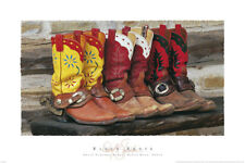 WESTERN ART PRINT - Ranch Boots by David Stoecklein 24x36 Cowboy Cowgirl Poster