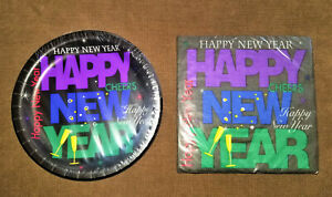 "Happy New Year Holiday Party 12 Paper Plates 7"" and 20 Napkins Luncheon Sized"