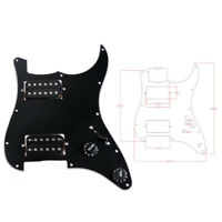 Guitar Loaded Prewired Pickguard for Fender Strat Stratocaster Parts Black 3 Ply