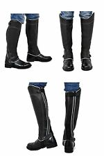 Riders Trend Full Grain Leather Gaiter Black Contrast Colour - XXL