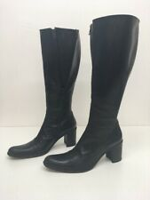 Women's Free Lance Black Leather Knee High Boots With Side Zip Insert Size Uk 5