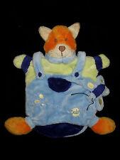 Doudou marionnette Renard orange bleu vert Baby Nat' Babynat' BN854 papillon