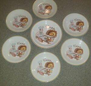 "Vintage Ceramica Castellania Pizza Plates 9½"" lot of 6 & Serving 11½"" Italy"